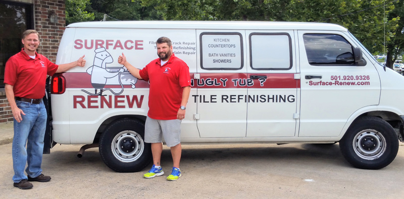 Crew with van bathtub refinishing service Conway